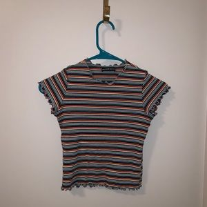 Brandy Melville Striped rainbow babydoll tee